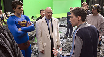 Bryan Singer on the set of Superman Returns