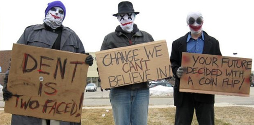 Harvey Dent Clown Protesters