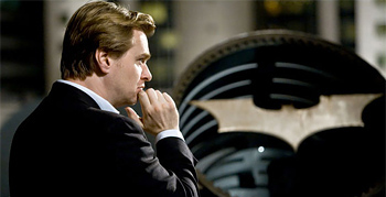 Christopher Nolan on the set of The Dark Knight