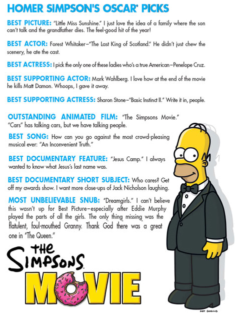 Homer Simpson's Oscar Picks