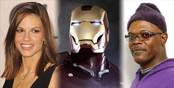 Hilary Swank and Samuel Jackson in Iron Man
